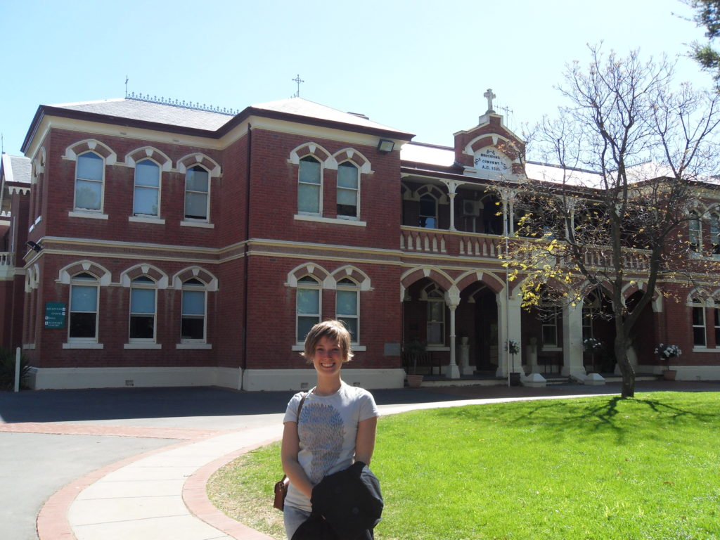 In front of St Joseph College, Echuca