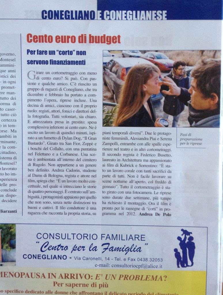 "Article on local paper ""Il Quindicinale"" about the short movie"